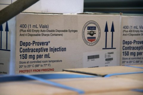 Boxes of Depo-Provera injectable contraceptives at a warehouse in Chokwe, Mozambique. © 2012 Arturo Sanabria, Courtesy of Photoshare