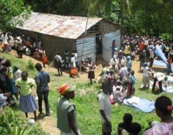Community members gather at a rally post, where health services are provided monthly (Credit: World Vision/Haiti)